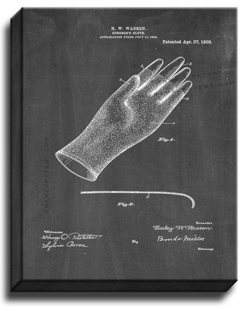 Primary image for Surgeon's Glove Patent Print Chalkboard on Canvas