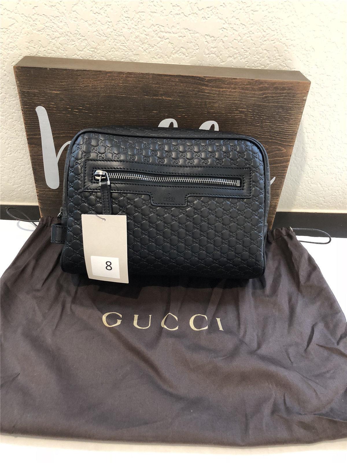 edd2e6296a6bf2 Gucci Men s 419775 Black Leather Micro GG Guccissima Large Toiletry Dopp  Bag -  406.73