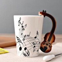 3D Handle Violin Biola Music Mugs Coffee Milk Tea Cup Drinkware Unique Gift - $23.95