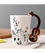 3D Handle Violin Biola Music Mugs Coffee Milk Tea Cup Drinkware Unique Gift - $23.95