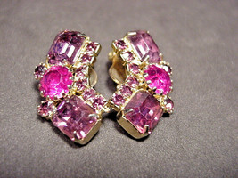 Weiss Earrings Purple and Pink Rhinestone Clip On VINTAGE - $29.65