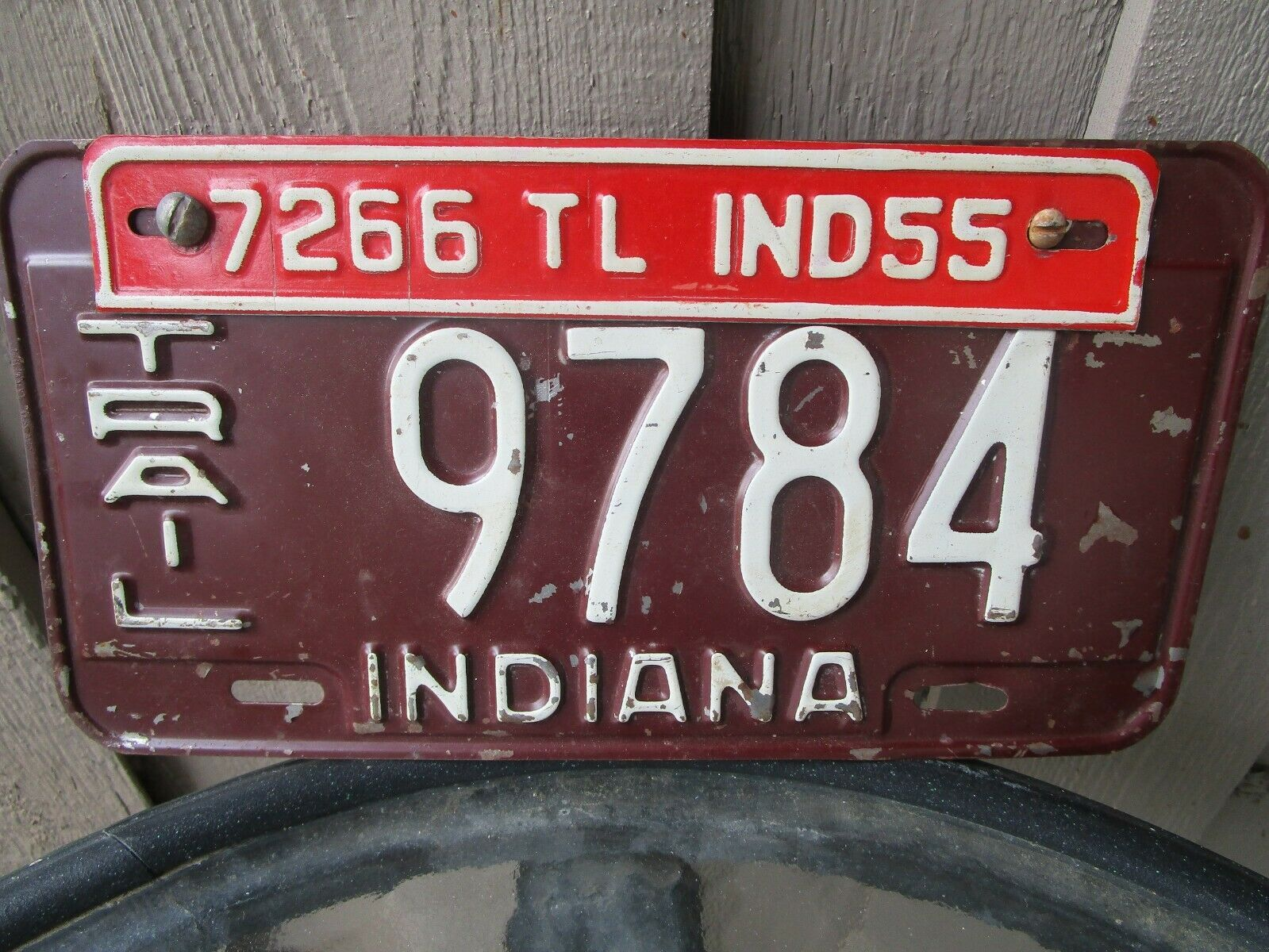 Vintage 1954 Indiana Trailer License Plate w/ 55 Tag 9784 7266 Airstream Shasta