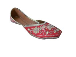 Women Shoes Jutties Indian Wedding Red Flip-Flops Handmade Leather Mojari US 6-9 - £32.35 GBP