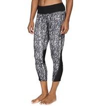Nike puissance Capri XS Noir Gris Imprimé Jabot Leggings Pantalon Maille - $30.59