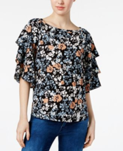 Charter Club Floral-Print Tiered-Sleeve Top in Iced Latte Combo, XL - $26.72