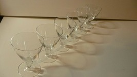 """6 Fine Clear Crystal Sherry Glasses With Cut Glass Ball 3.5"""" x 2.5"""" Pre-... - $21.02"""
