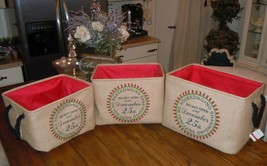 MSPCI 3 Piece Ashland French Country Burlap Christmas Present Basket Set... - $69.29