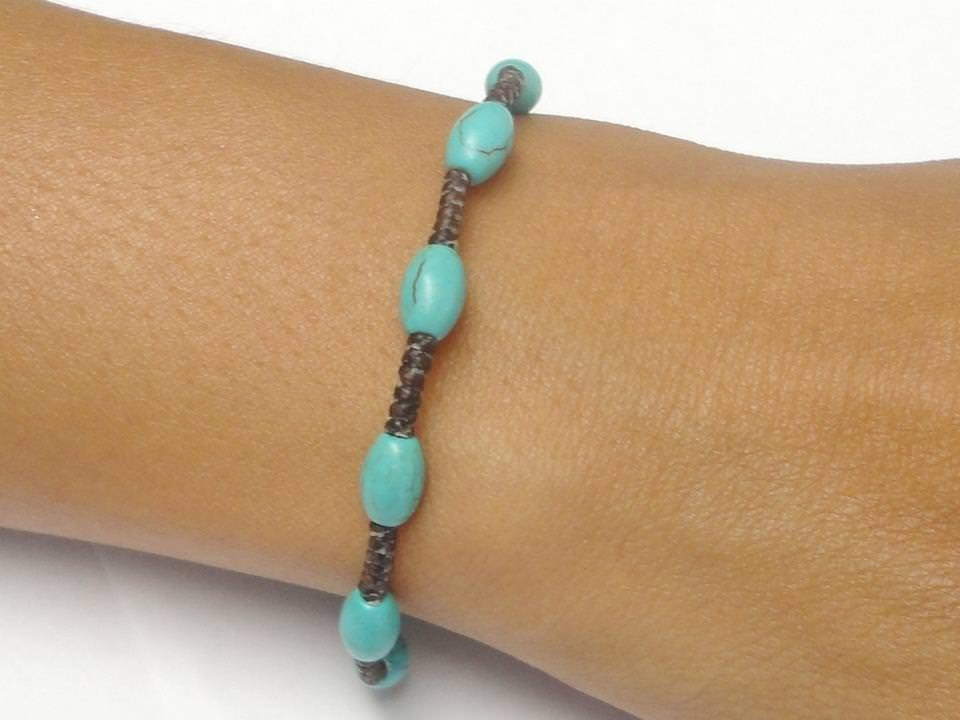 Handmade Turquoise BEADED Gemstone Fair Trade Jewelry Thai Wristband Bracelet