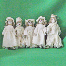 "Set Of 5 Small (8"") Dolls, Ceramic Head, Hands, And Feet, Stuffed Cloth ... - $14.95"