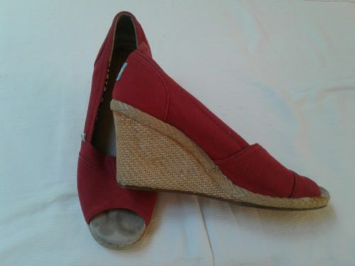 832a8b57286 Toms womens sandals shoes wedge red canvas and 50 similar items. 12
