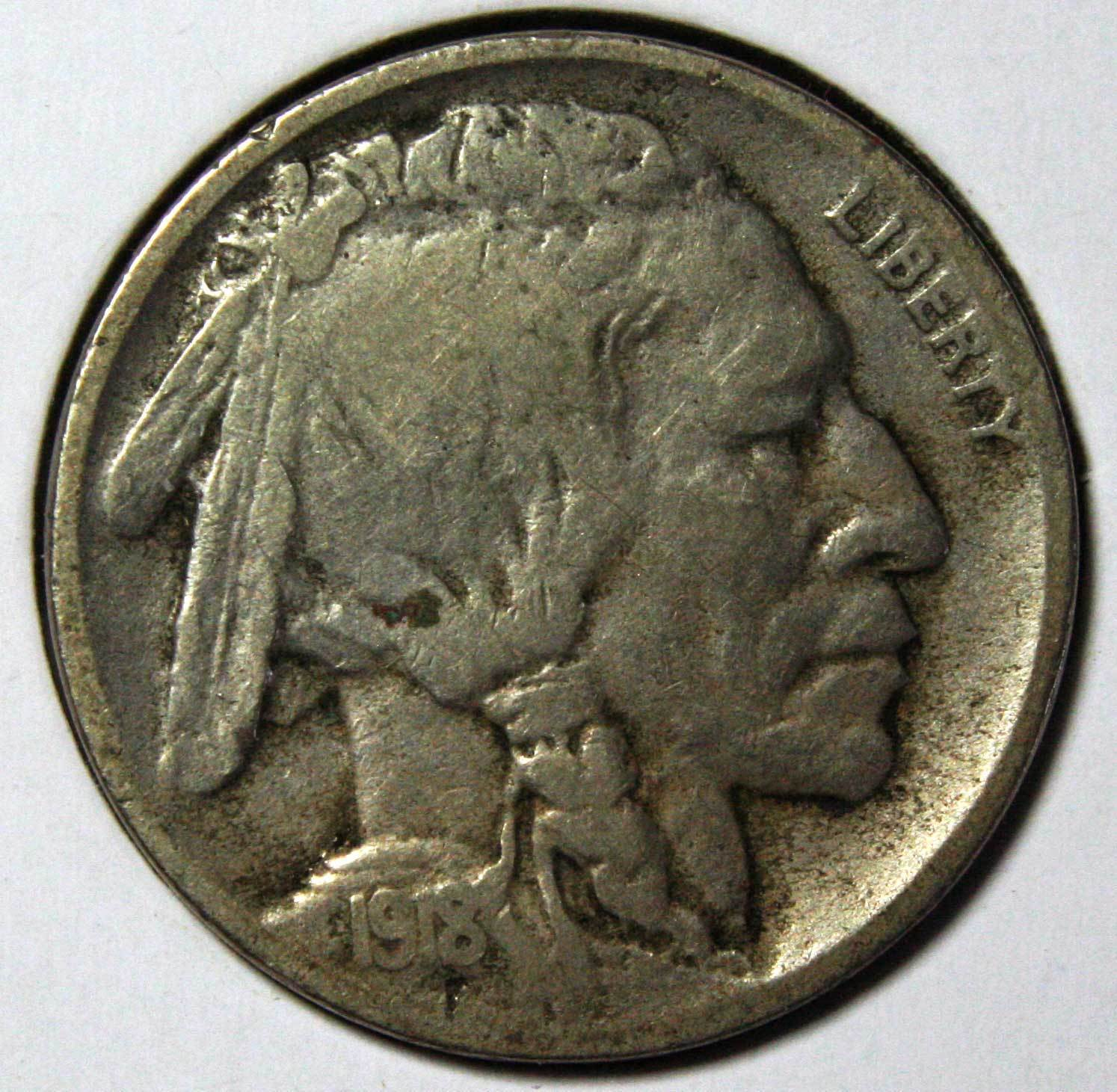 1918D Buffalo Nickel 5¢ Coin Lot # EA 288