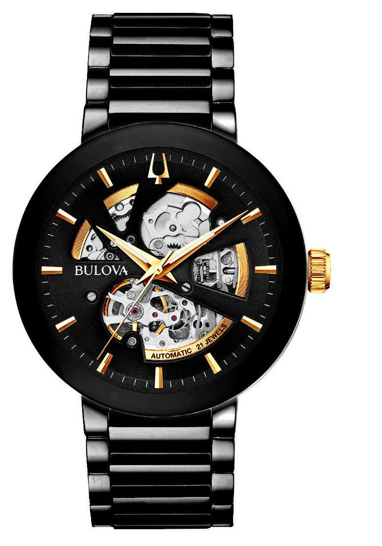 823f564b589 Bulova Mens Black Gold Tone Automatic Stainless Steel Watch 98A203 ...
