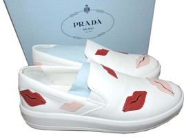Prada Skate Sneaker Flats White Leather Slip On Shoes 39 Lip-Appliqued - $420.00