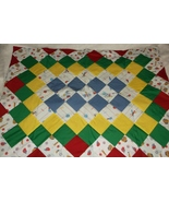 Handcrafted quilt baseball themed  lap baby 28 x 37 red yellow blue green  - $35.00