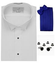 Tuxedo Shirt, Royal Blue Cummerbund, Bow-Tie, Cuff Links & Studs #501 - $28.45