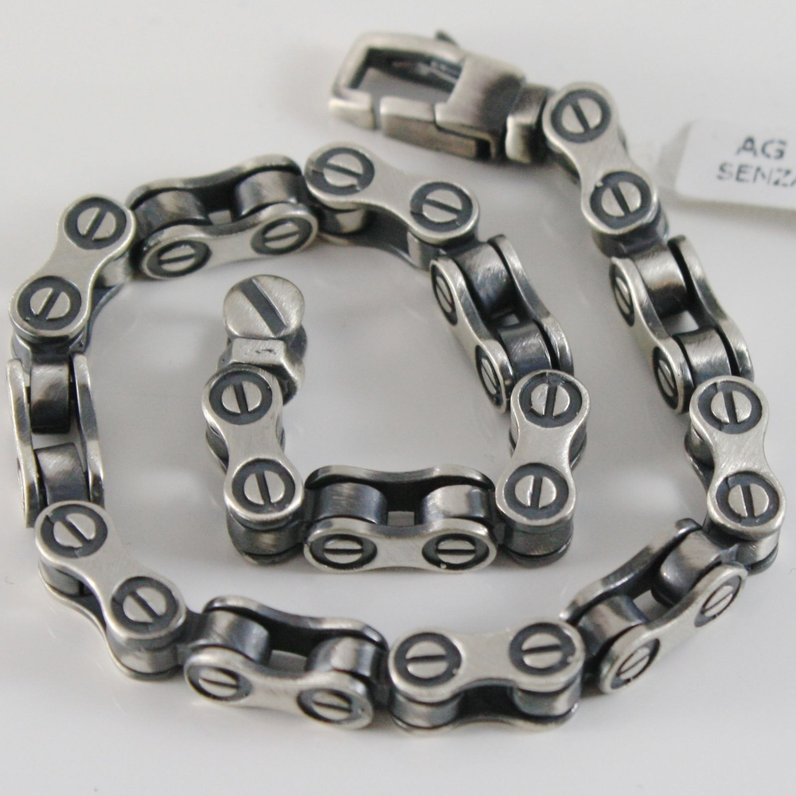 SOLID 925 BURNISHED SILVER BRACELET MOTORCYCLE CHAIN FINELY WORKED MADE IN ITALY