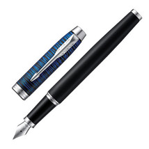 Fountain Pen Parker Im Blue Origin Ct Body Matt Black Chrome Black 2073474 Of... - $86.41