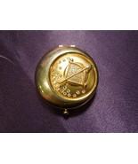 Gold Tone Rhinestone Bow Arrow Compact Estee Lauder Sagittarius Astrology - $34.65