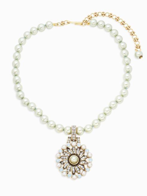 Heidi Daus Faux Pearl Pinwheeled Swarovski Crystals Bronze tone Necklace