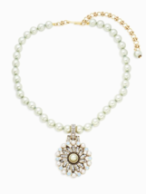 Heidi Daus Faux Pearl Pinwheeled Swarovski Crystals Bronze tone Necklace - $127.71