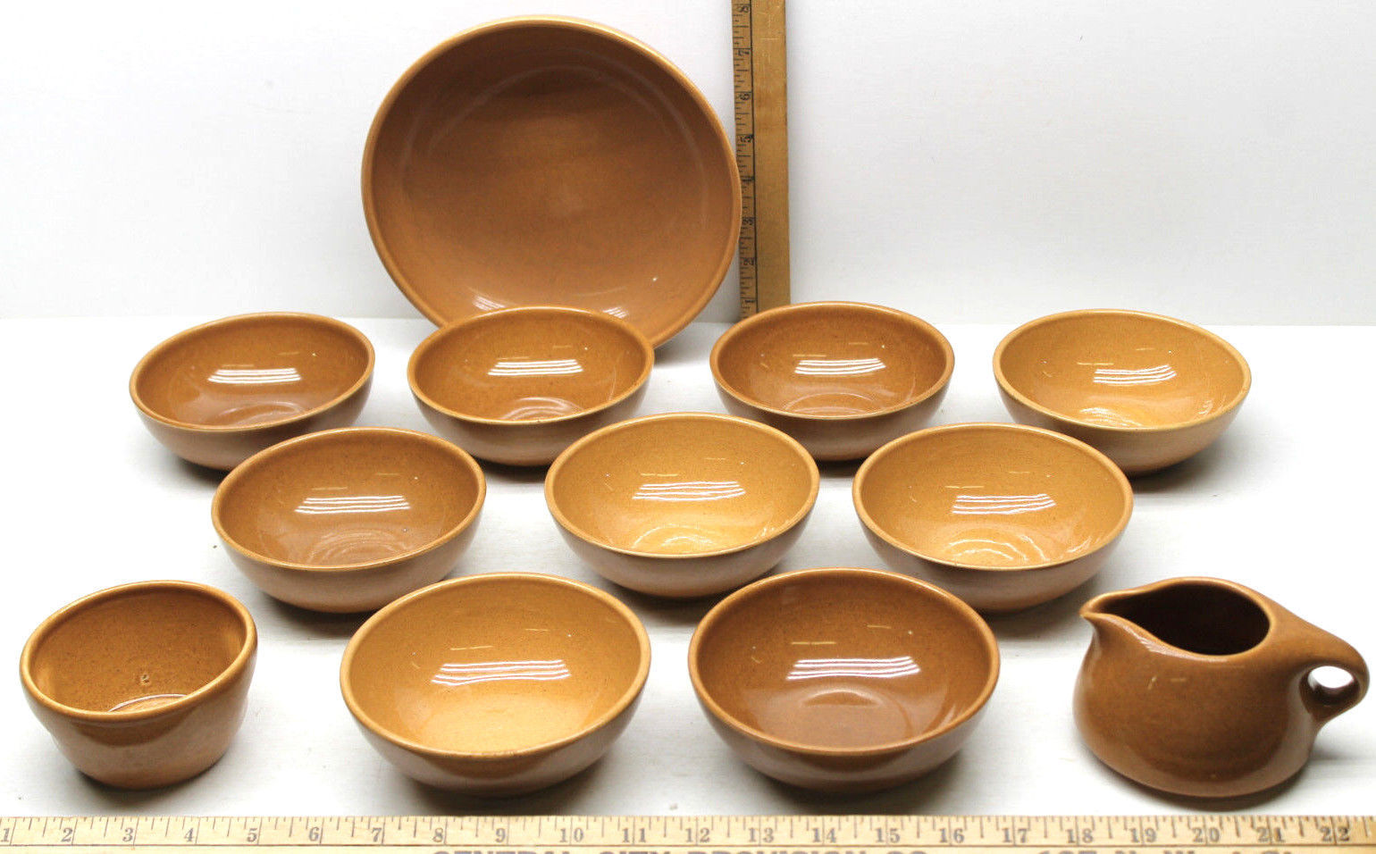 "Primary image for 12 pc Iroquois Casual China Russel Wright Apricot 8.5"" & 5"" Bowls+Creamer+Sugar"