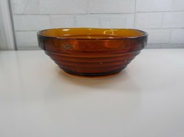 Large Amber Tiered Blenko Glass Bowl or Centerpiece with Label - $75.00