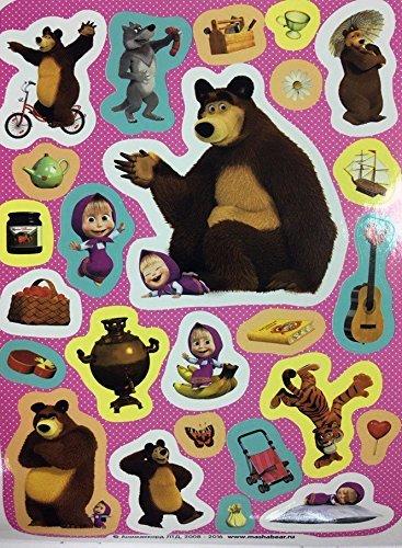 4 Sheets (100 Stickers) Sticker Green Random masha and Bear (7.8-5.5 inch) Kids image 4