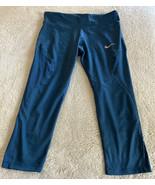 Nike Womens Dark Teal Crop Yoga Running Pants Dri Fit Large - $16.93