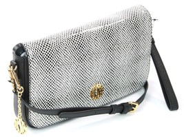 DKNY Donna Karan Black White Snakeskin Embossed Cross Body Bag Clutch - $228.38