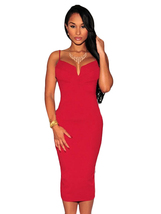 Red Plunging V Neck Midi Dress  - $20.00