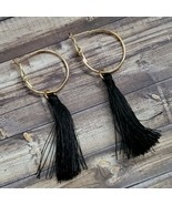 Black & Gold Tassel Earrings Boho Festival Bohemian Hoop Fashion Jewelry - $14.99