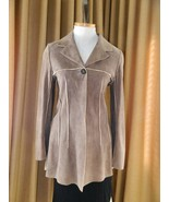 Chanel Jacket Coat Deer Skin Suede Chanel Horn Button 38 - $1,978.02