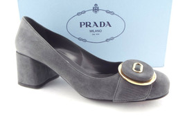 New PRADA Size 6.5 Gray Suede Logo Button Block Heel Pumps Shoes 36.5 - $359.00