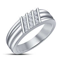 14k White Gold Finish 925 Sterling Silver Mens Wedding Anniversary Diamo... - £67.11 GBP