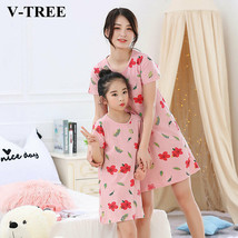 Matching Family Outfits Girls Nightdress Summer Children's Pajamas Cotto... - $16.93+