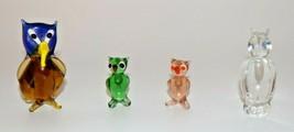 """LOT of 4 Hand-Blown Miniature GLASS OWL FIGURINES 1 1/2""""-2 1/2"""" Tall Sta... - $19.79"""