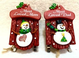 Christmas Ornaments Sleds Most Loved Mom Most Loved Dad  Red Small Set of 2 - $3.95