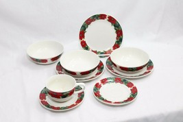 Gibson Poinsettia Xmas Holiday Plates Bowls Cup Set of 9 - $45.07