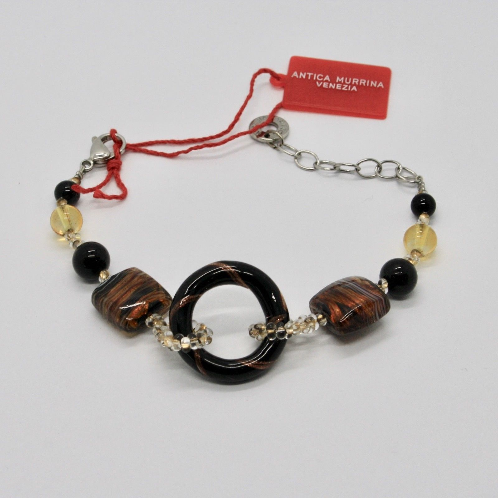 BRACELET ANTICA MURRINA VENEZIA WITH MURANO GLASS BROWN BLACK BEIGE BR567A14