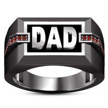 Mens Dad Wedding Anniversary Ring Red Garnet 14k Black Gold Over 925 Rea... - $91.99