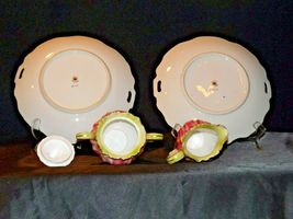 Green Red Floral cream and sugar with lid plus two plates Lefton NE 719 AA19-158 image 6