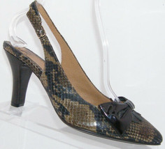 Sofft multi-colored snake print leather pointed toe bow slingback heels 8.5M - $26.42