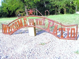 Metal Welcome to the PATIO Sign Wall Entry Gate EXTRA LARGE 56 1/2 inch bz - $179.98
