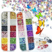 Bscare 3D Butterfly Nail Glitter Sequins 24 Colors/Set Laser Butterfly Nail - $18.49