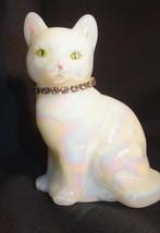 Fenton Glass Painted Iridized White Cat June Birthstone Necklace Light Amethyst - $35.00