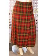 Vintage PENDLETON Knockabout Red/Olive/Gold Plaid Pleated Wool Wrap Skir... - $39.10