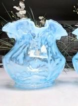 1 Vintage Fenton Daisy & Fern Blue Opalescent Ruffles Glass Lamp Globe S... - $129.62