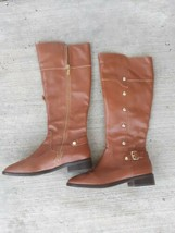 Michael Kors Womens Leather Solid Low Heel Knee High Boots Brown Size 7 M - $49.49