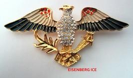 Vintage EISENBERG ICE Patriotic Red White Blue American Eagle Flag Pin B... - $44.95