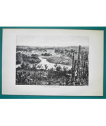 MEXICO View City of Tula - 1891 Antique Print Engraving - $20.25